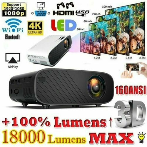 Full HD 1080P 4K 3D Proiettore LED Videoproiettore Multimedia Home Cinema HDMI