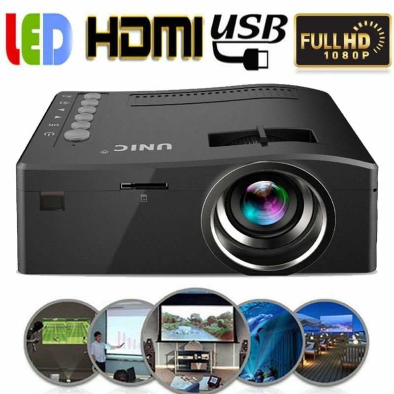PROIETTORE LED FULL HD 1080P VIDEOPROIETTORE HDMI USB VGA Home Cinema
