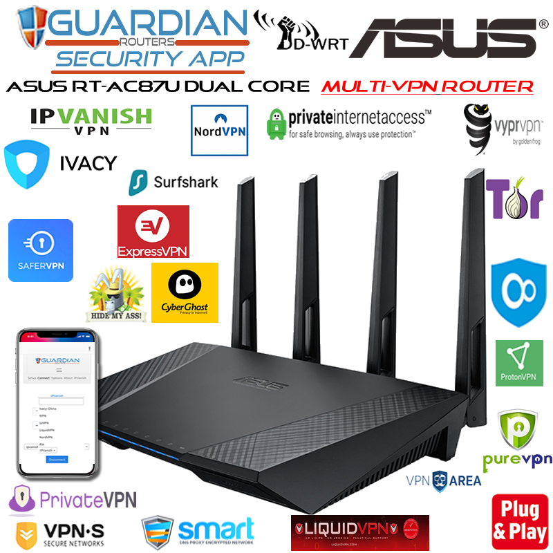 Asus RT-AC87U MULTI-VPN Router 30 VPN providers DNSCrypt Plug& Play Guardian App