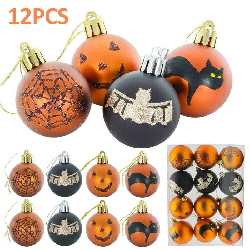 Pack of 12 Mini Halloween Tree Baubles Glittery 6cm Party Decoration Ornaments