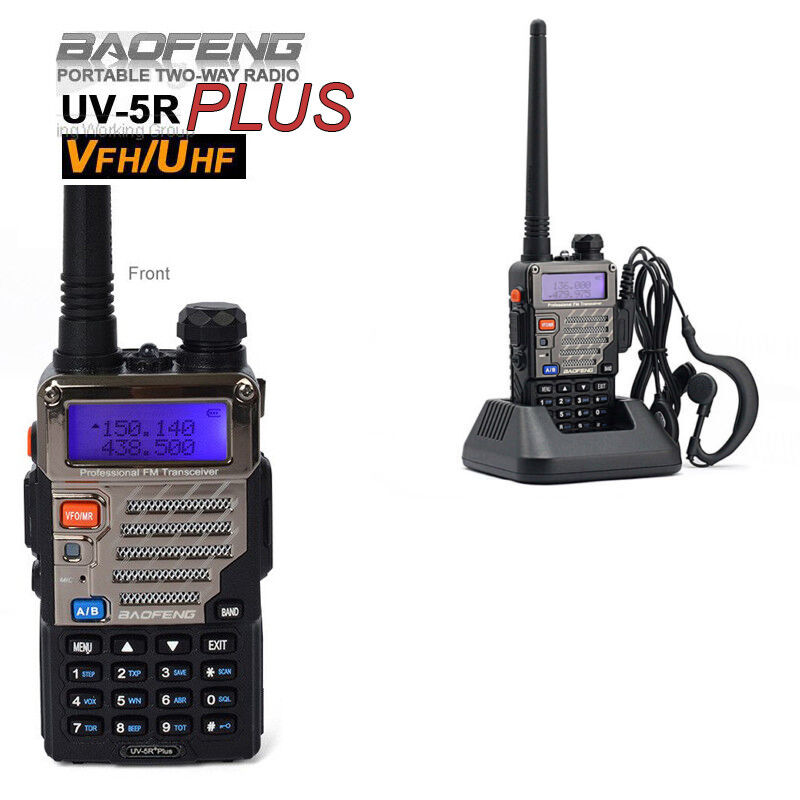 Baofeng UV-5R PLUS +  2m/70cm FM Radio RICETRASMITTENTE Walkie Talkie