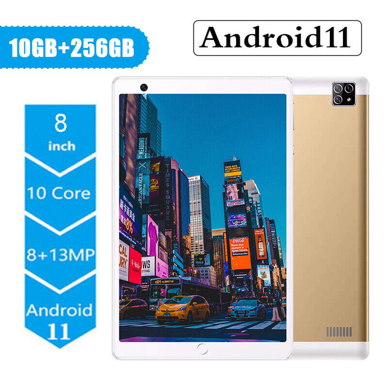 8'' Inch Tablet PC 10 Core Android 11.0 10+256GB Dual SIM Triple Camera Phablet