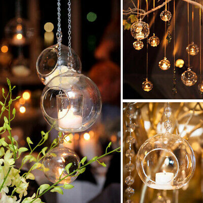 Clear Glass Baubles Fillable Sphere Hanging Balls Candle Tealight Holder Wedding