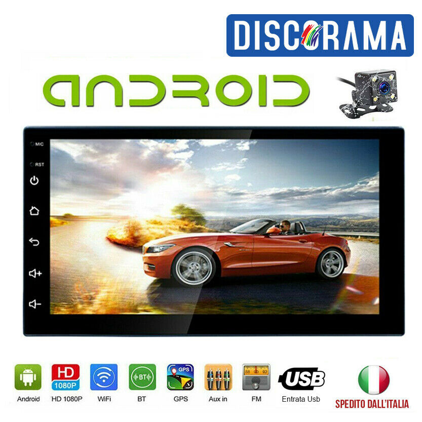 STEREO AUTO ANDROID AUTORADIO 2 DIN BLUETOOTH MP5 AUX WIFI GPS RETROCAMERA