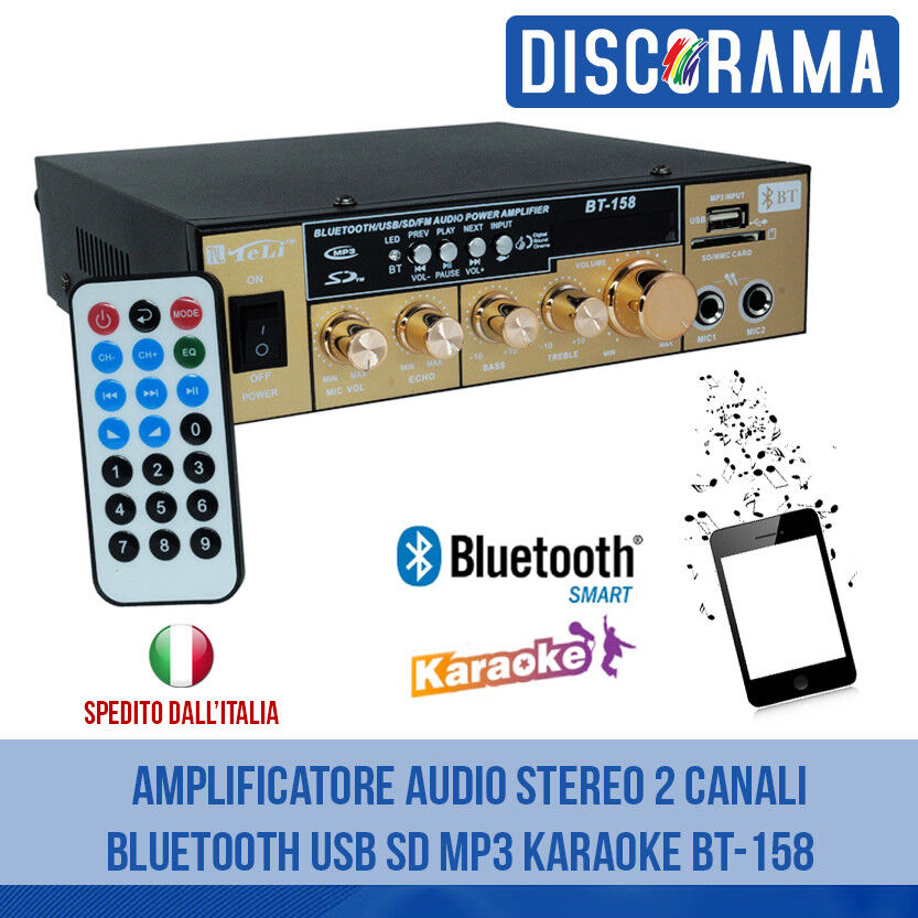 AMPLIFICATORE AUDIO STEREO 2 CANALI BLUETOOTH USB SD MP3 KARAOKE BT-158