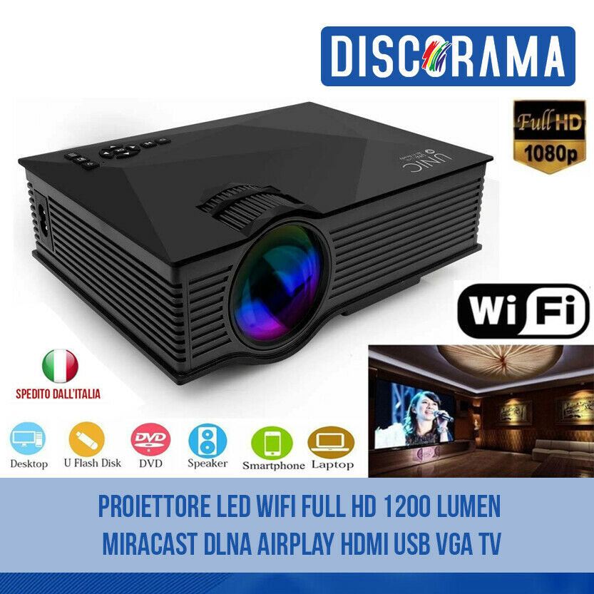 PROIETTORE LED WIFI FULL HD 1200 LUMEN MIRACAST DLNA AIRPLAY HDMI USB VGA TV