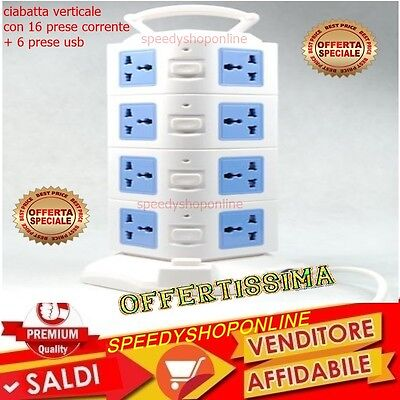 CIABATTA ELETTRICA MULTIPRESA 16 POSTI + 6 PORTE USB INTERRUTTORI IT UK USA 16A