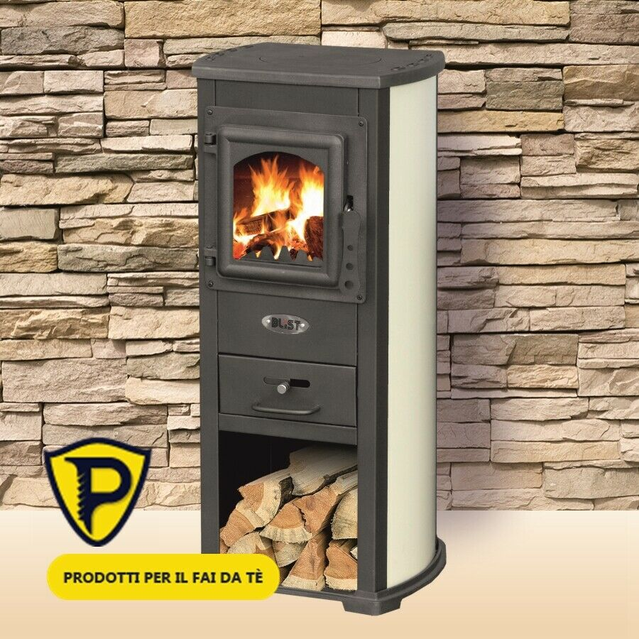 """Stufa a Legna Blist + Piastra Bollitrice Lux Beuge Canna posteriore LM """" 5-7 KW"""
