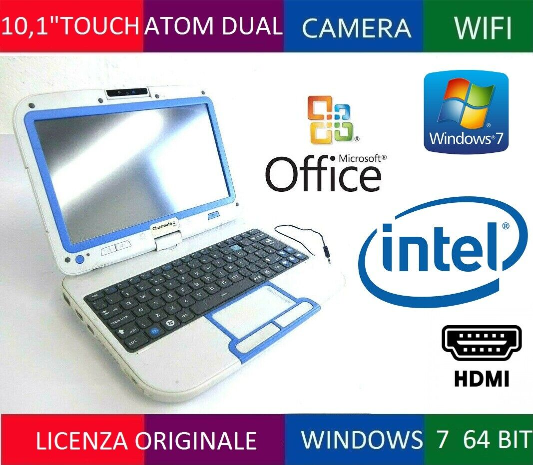 """NETBOOK TOUCH 10,1"""" LED *NO-STYLUS* DUAL CORE N2600 RAM 2GB HDD 320GB PC 2 IN 1"""