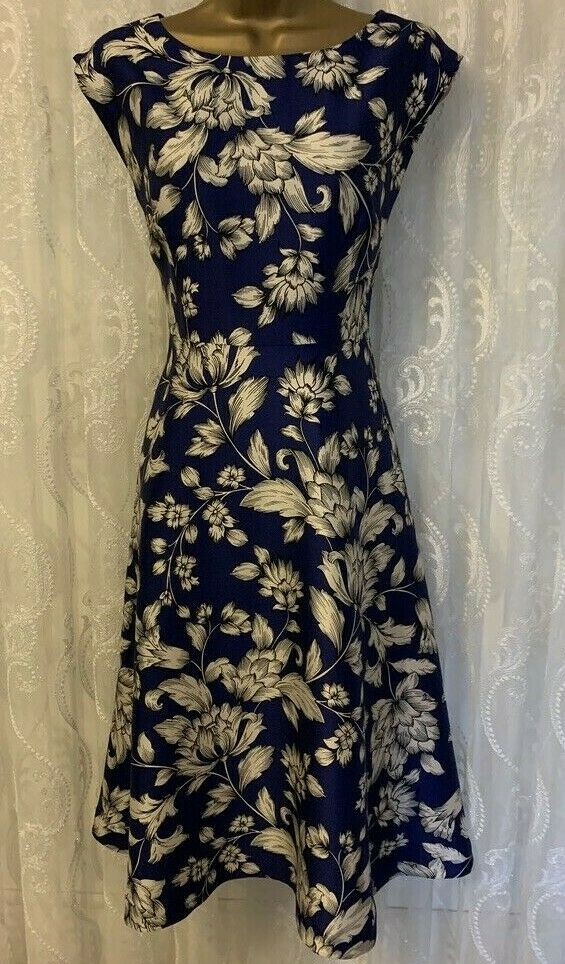 Hobbs Palace Garden Floral Print Floaty Fit Flare Drape Occasion Dress 10 38