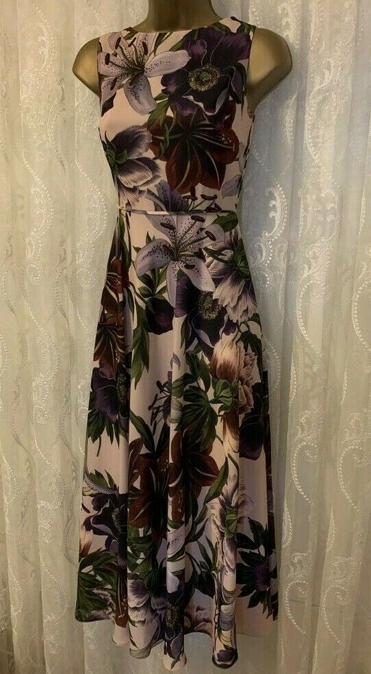 Hobbs Royal Garden Floral Print Floaty Fit Flare Midi Drape Occasion Dress 8 10