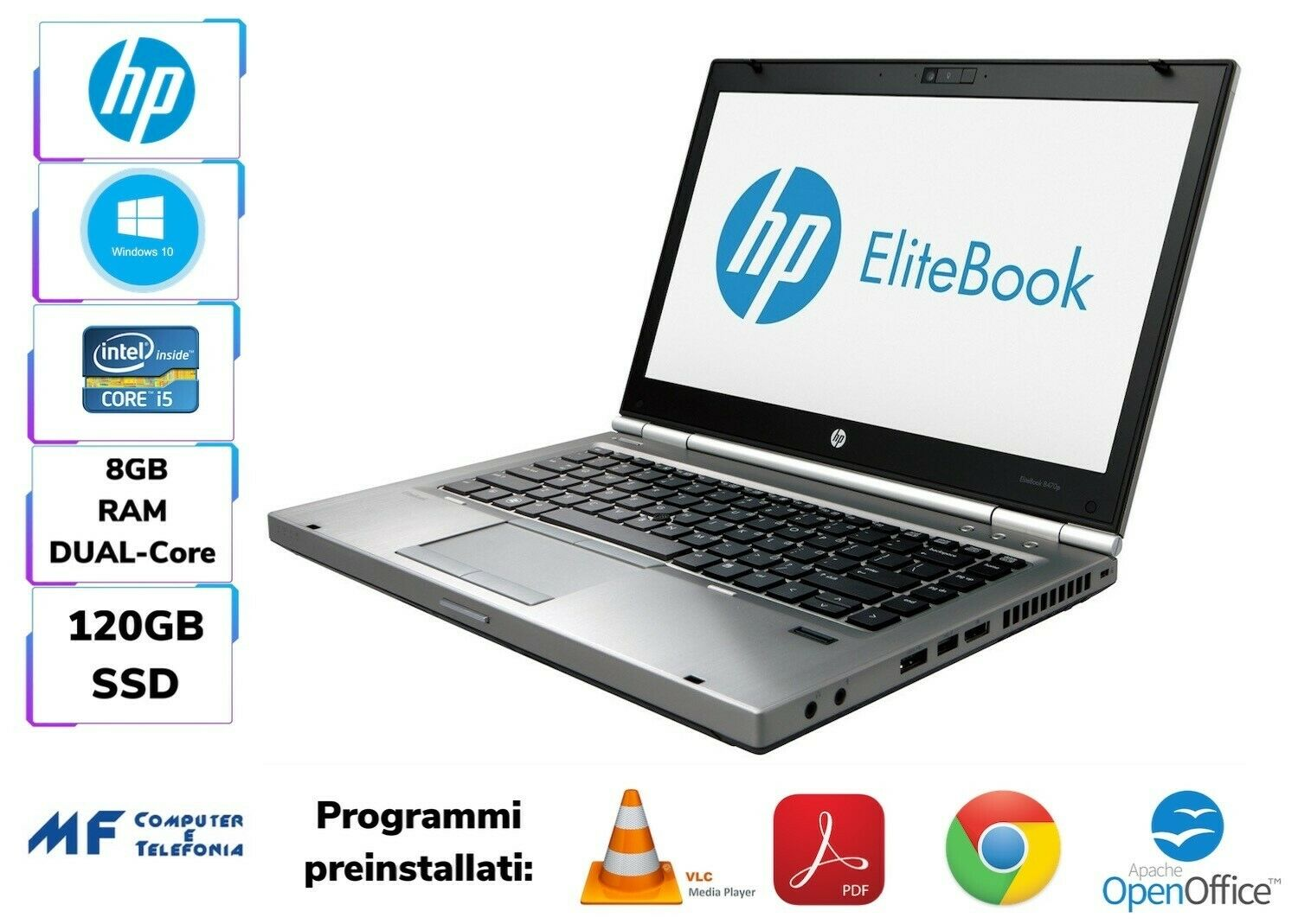 HP LAPTOP/NOTEBOOK 8470P i5 8GB RAM 120GB SSD SMARTWORKING WIN10 14""