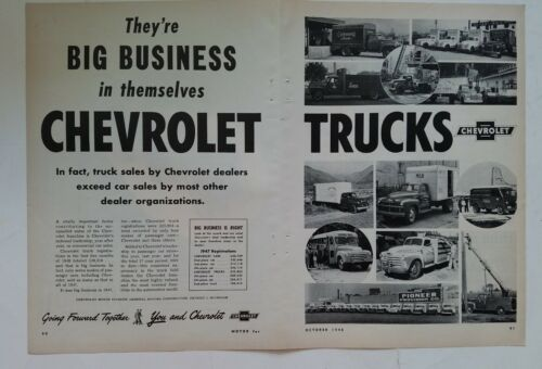 1948 Chevrolet Carrelli They 'Re Big Business Vintage Two-Page Originale Ad
