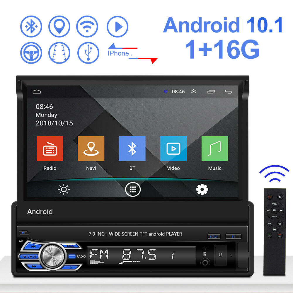 1 Din Android 10.1 Autoradio con GPS Navi Bluetooth USB 7'' Touch MP5 Player