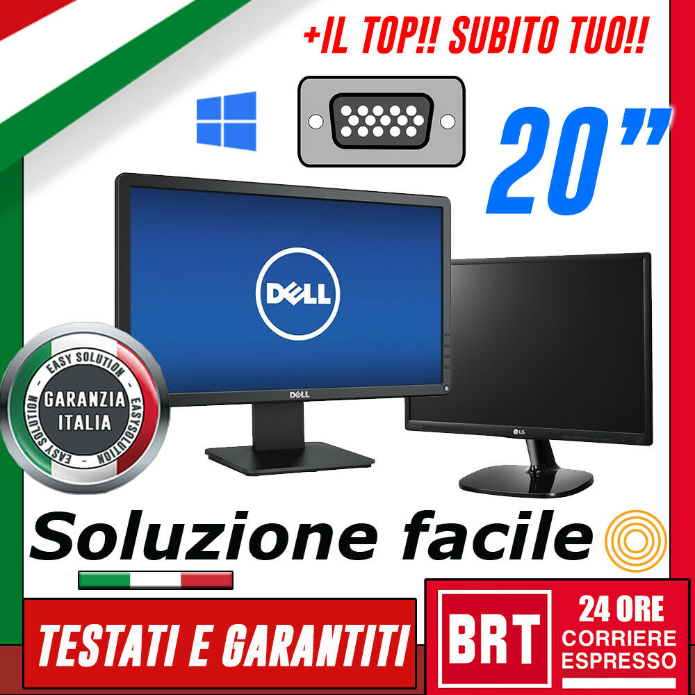 "PC MONITOR SCHERMO LCD 20"" POLLICI (DELL,LG,HP) DVI VGA DISPLAY BUONO! (19 21)!!"