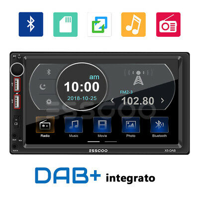 2 DIN Autoradio DAB+ RDS AM FM Stereo MP5 Lettore Bluetooth 2 USB SD AUX IN IT