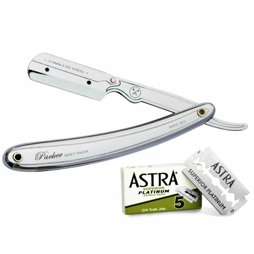 Parker Professional Shavette Razor Stainless Steel / 31R & 5 FREE Astra Blades