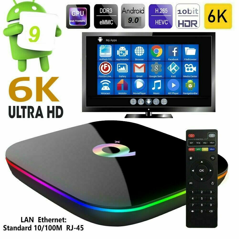 SMART TV BOX Q-PLUS ANDROID  9.0 4GB RAM 64GB 6K WIFI