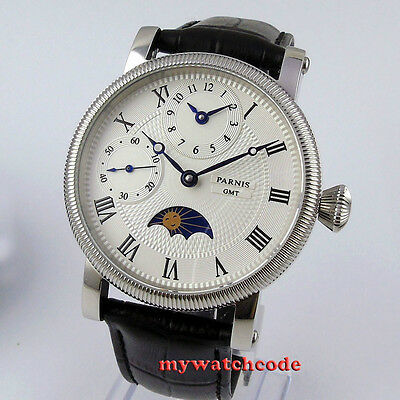 42mm PARNIS white dial Moon Phase GMT hand winding movement mens watch P60B