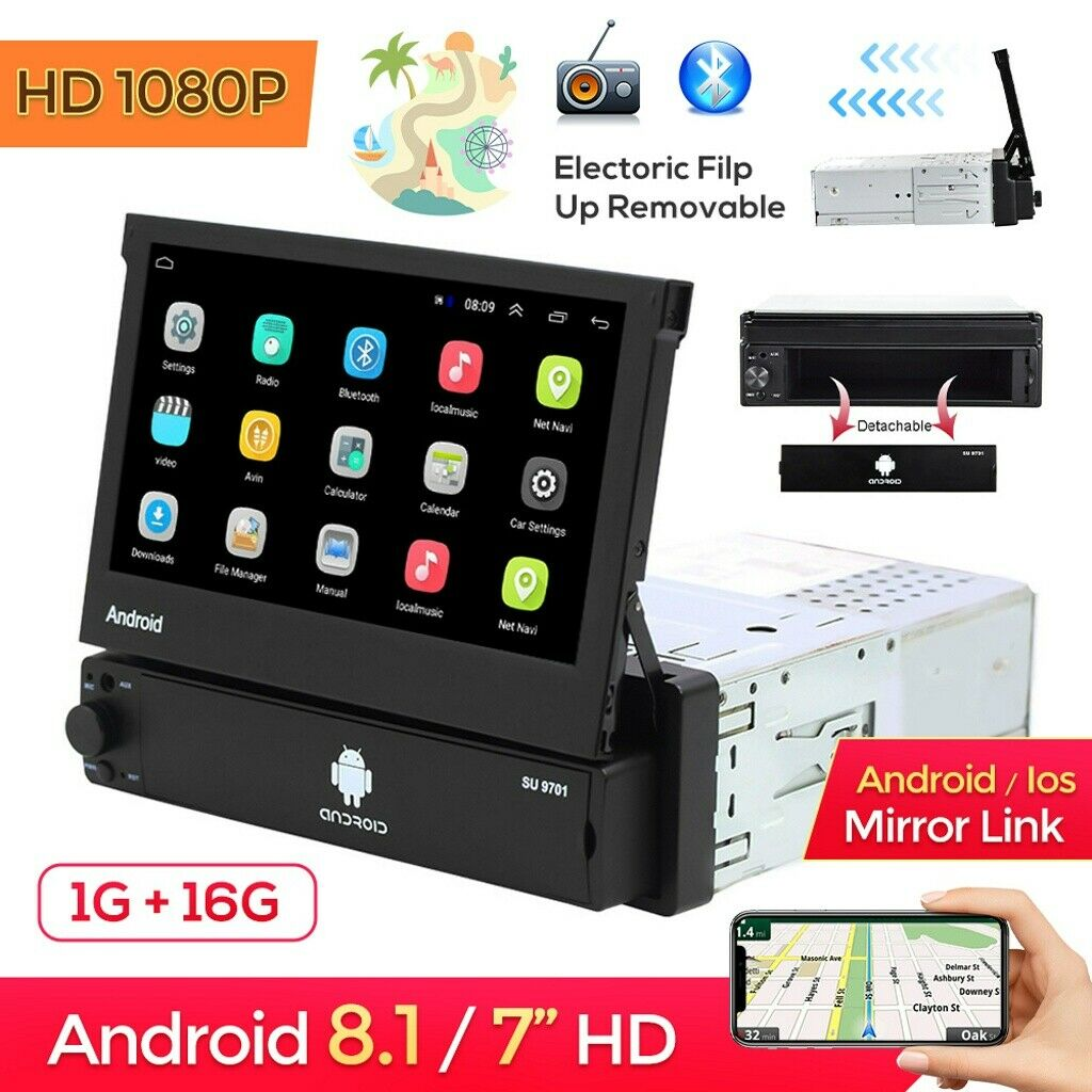 1 Din 7 '' Autoradio Android Touch Screen Stereo Con GPS Navi Bluetooth WiFi