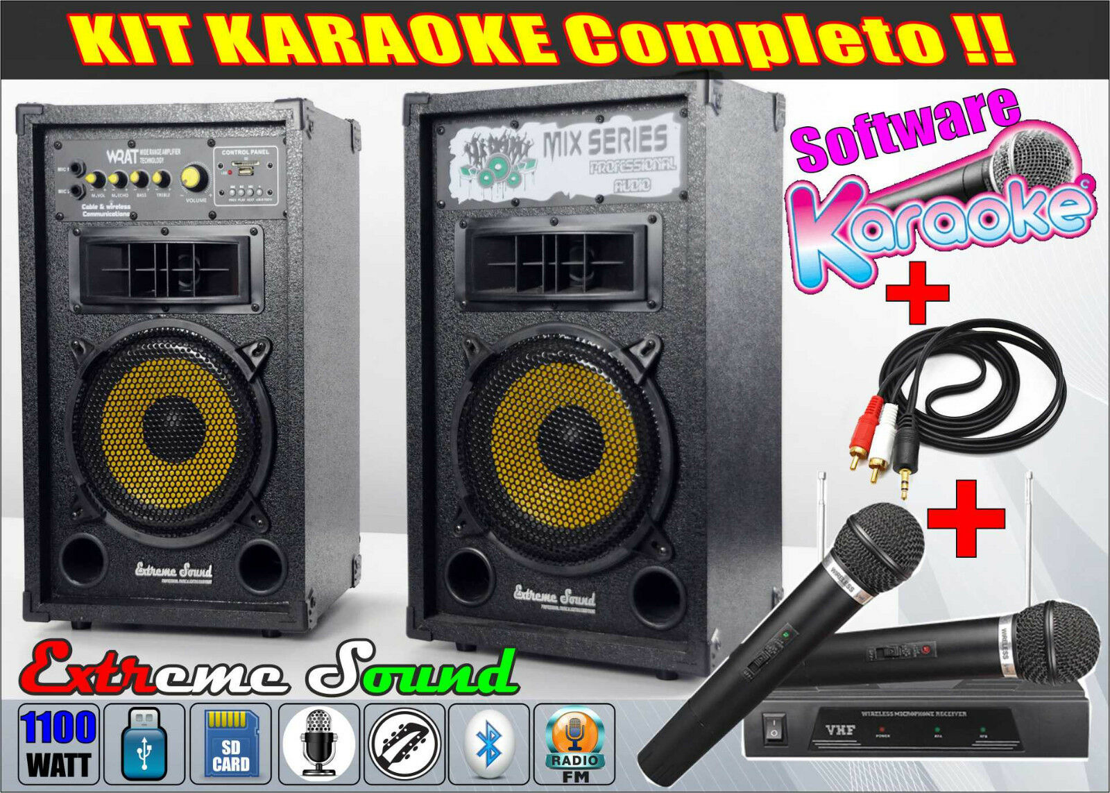 IMPIANTO CASSE KARAOKE 1100W BLUETOOTH RADIO FM+ Microfoni Cavo PC DVD MIX-1-KIT