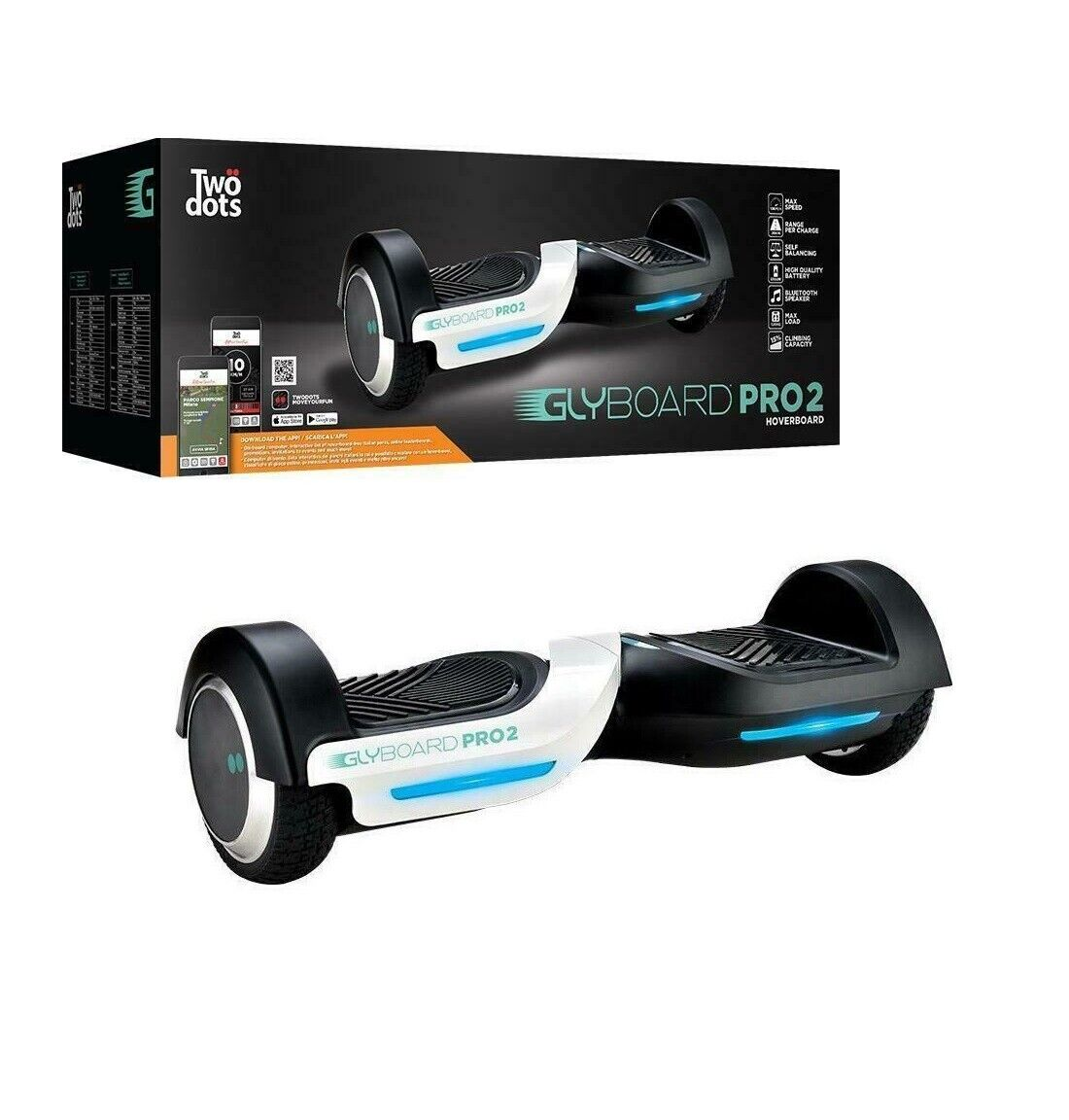 """HOVERBOARD 6.5""""  TWO DOOLS Glyboard PRO 2 LED SCOOTER OVERBOARD BLUETOOTH"""
