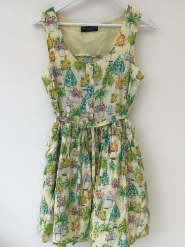 Size 12 Vtg Style Fit Flare Plantpot Garden Sleeveless Dress DP Cotton Belted