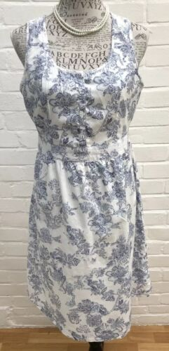 TU Tea Dress Size 12 White Blue Floral Cotton Summer Fit Flare Garden Landgirl