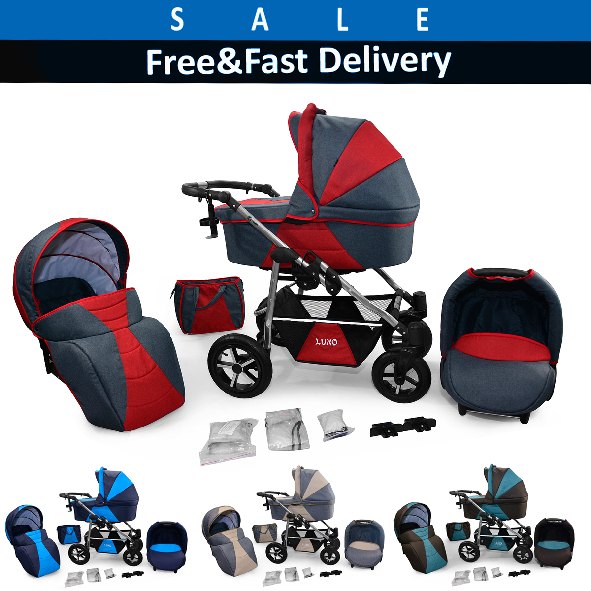 Baby pram Travel System 3in1 Newborn Pushchair Carrycot Car Seat Combi Buggy and