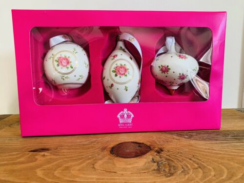 Royal Albert Christmas Baubles with Pink Roses design & Gold Gilt. New in Box
