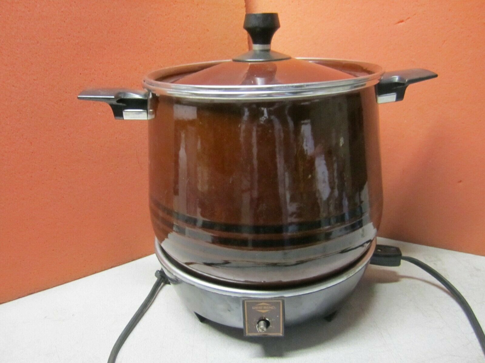 Vintage West Bend Lazy Giorno Fornello Lento, 200 Watt, 6 Quart , Manca Pomello