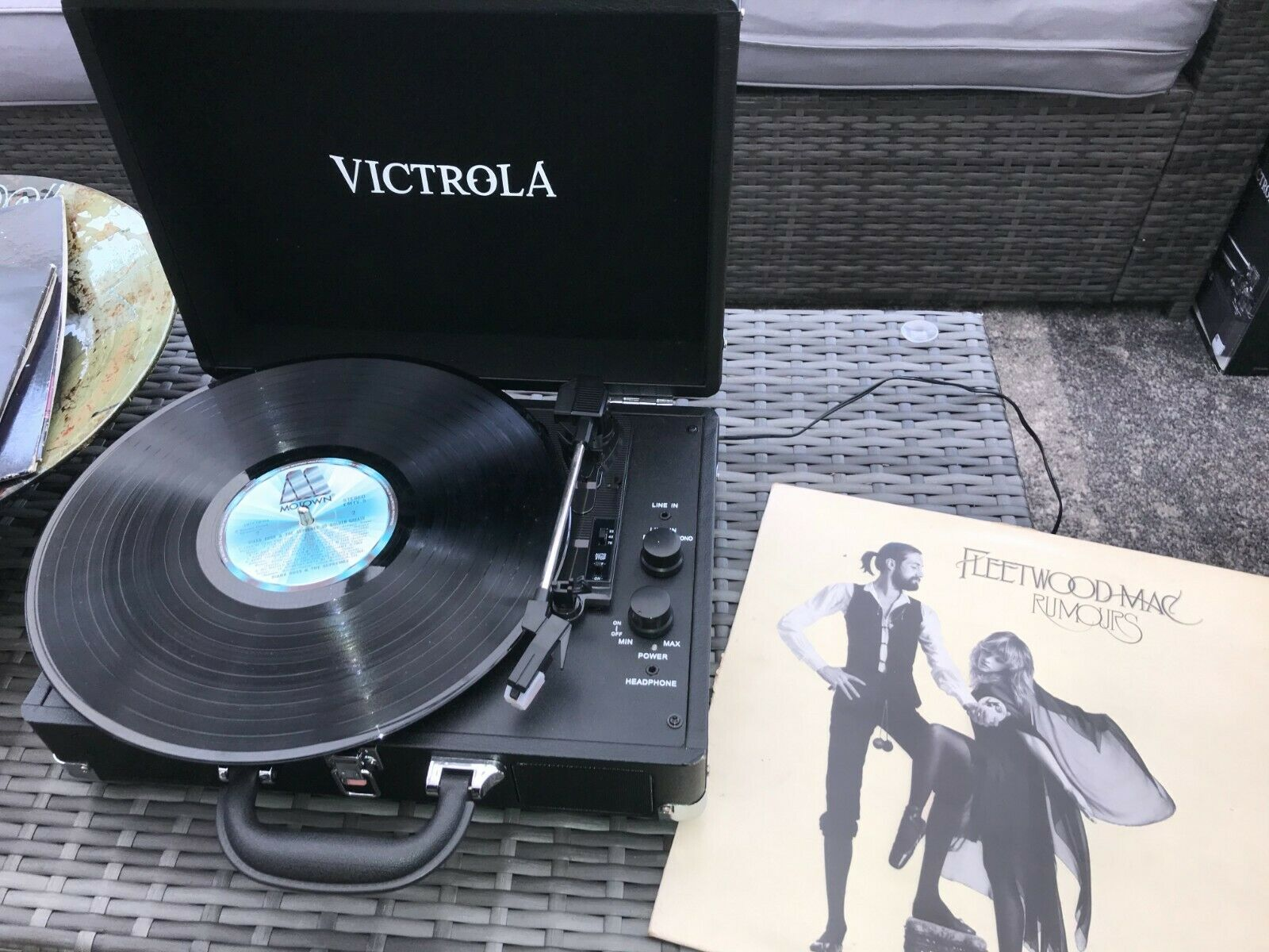 Victrola Retro Portable Suitcase Record Player with 3-Speed 33 45 75  +Bluetooth