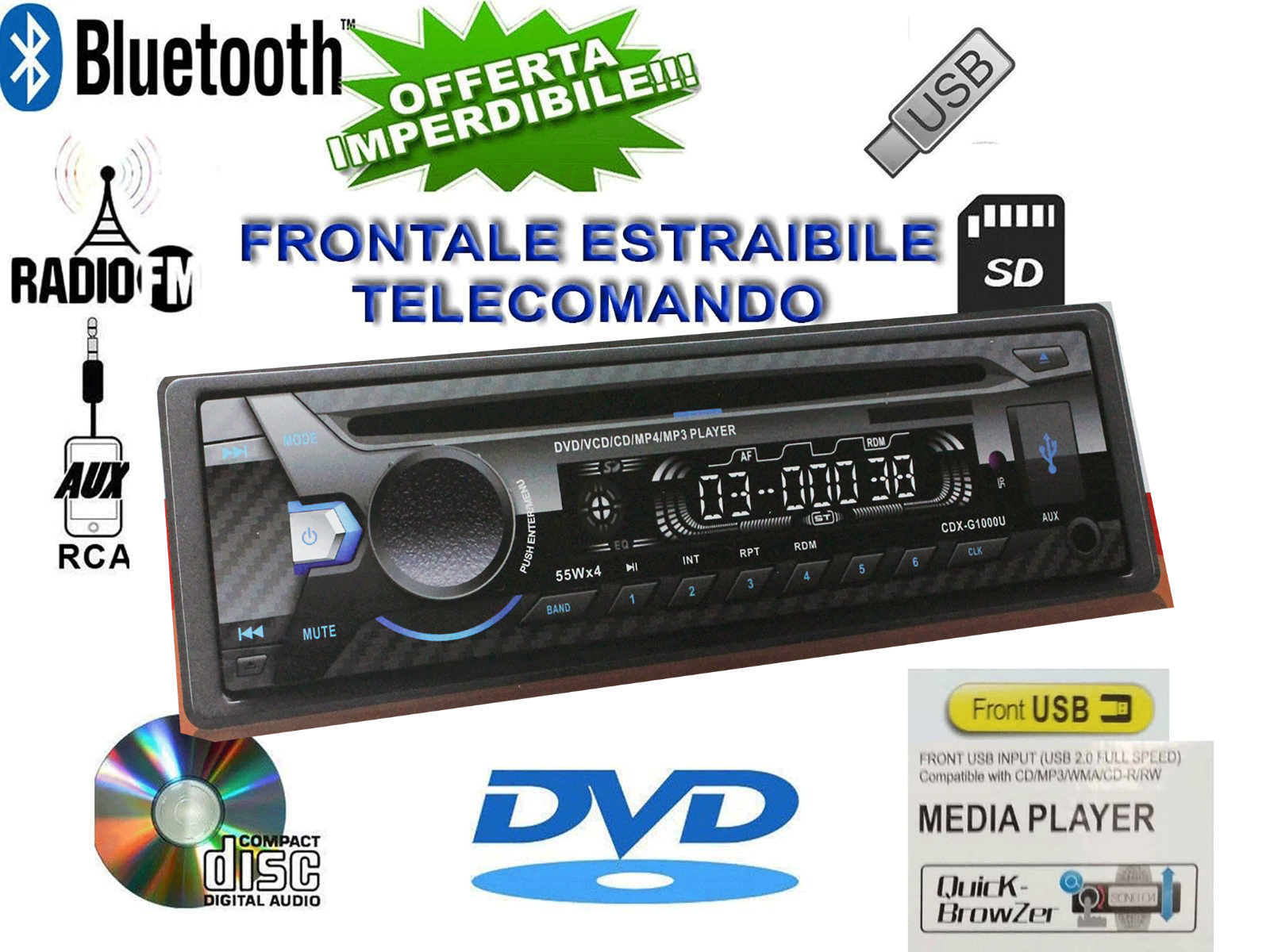 AUTORADIO 1DIN CD DVD MP3 AUX USB SD VIVAVOCE BLUETOOTH STEREO AUTO LETTORE 52W
