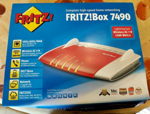 Fritz! Box 7490 Complete High Speed Home Network Modem Rosso Argento Caricatore