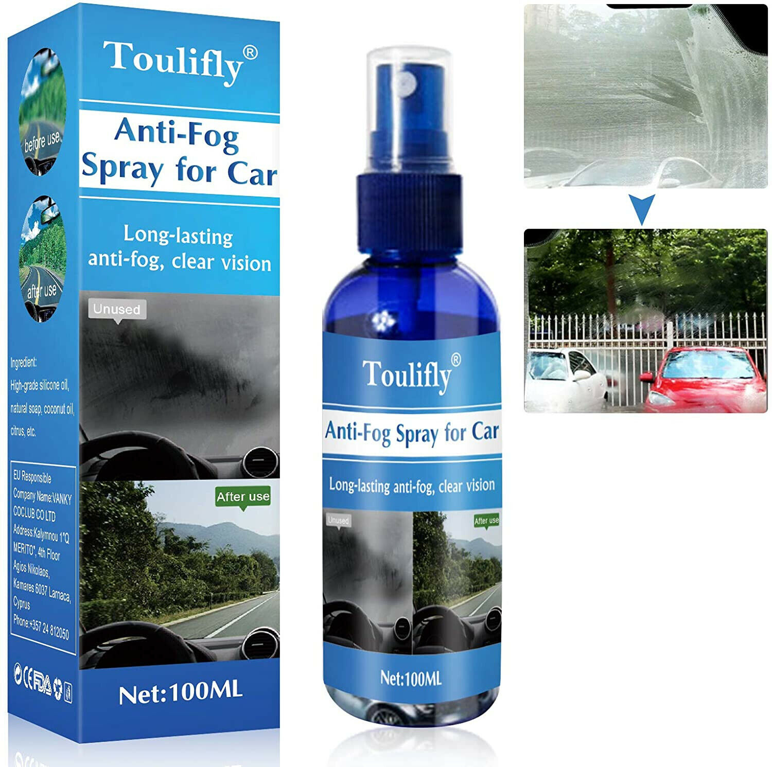 Spray Antiappannamento,Anti-fog Spray,Spray Antiappannamento Auto,100ML