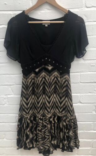 Karen Millen Silk Dress UK 8 Black & Beige Flare Party Tea Garden Wedding