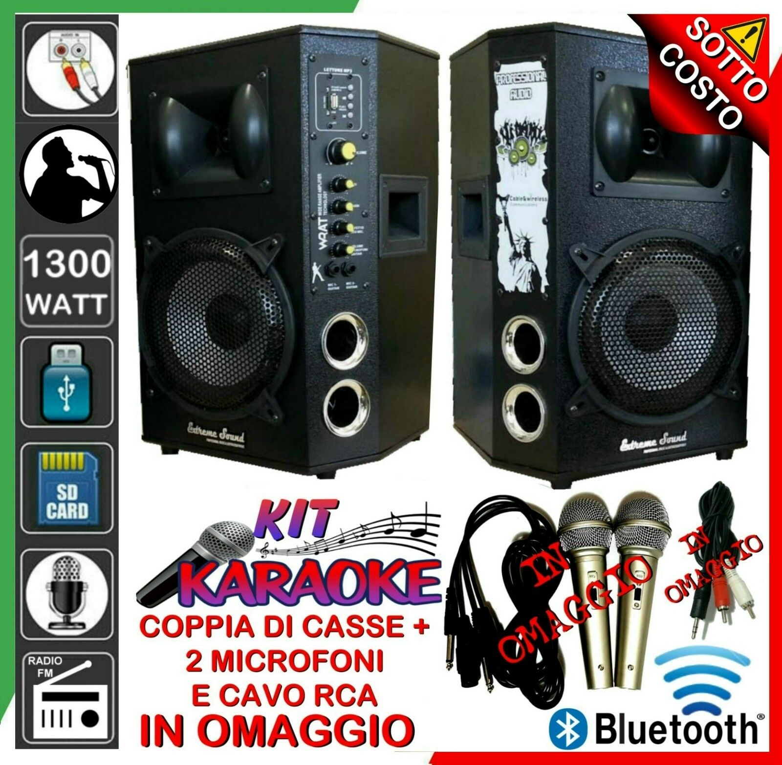 COPPIA DI CASSE 1300W IMPIANTO KIT KARAOKE MICROFONI RCA Mp3 Bluetooth USB RADIO