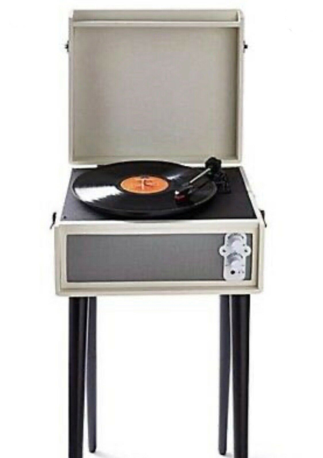RETRO RECORD PLAYER WITH LEGS - BLUETOOTH - DYNAMIC SPEAKERS - CREAM