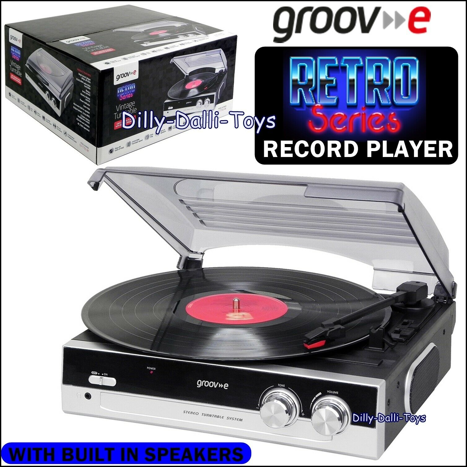 Groove Retro Series Vintage Style Record Player Turntable With Built in Speakers