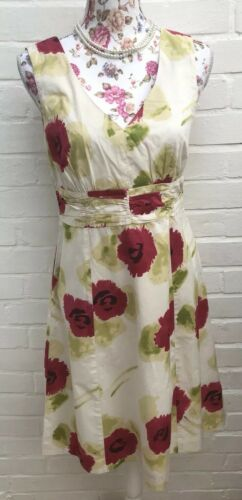 Boden Dress Size 10 Ivory Red Floral Roses Fit Flare Garden Occasion Wedding