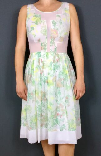 Asos White Sheer Detail Floral Sleeveless Fit Flare Midi Tea Garden Dress 8 10