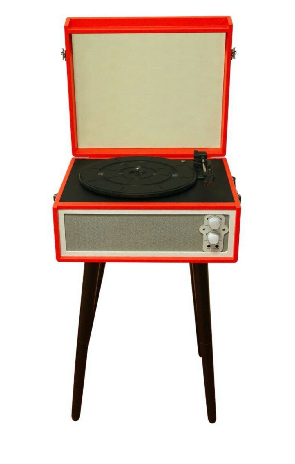 RETRO RECORD PLAYER WITH LEGS - BLUETOOTH - DYNAMIC SPEAKERS - RED