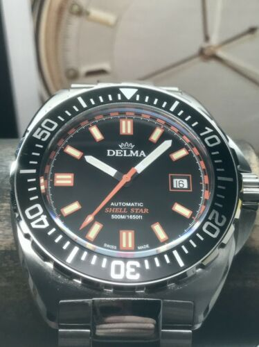 Delma Shell Star Black Dial 44mm Swiss ETA Automatic 500m Diver Stainless Steel