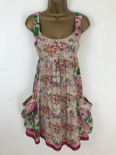 H&M Garden Collection Dress Pink Floral Flare Pockets Tie Back Size 36 UK 8