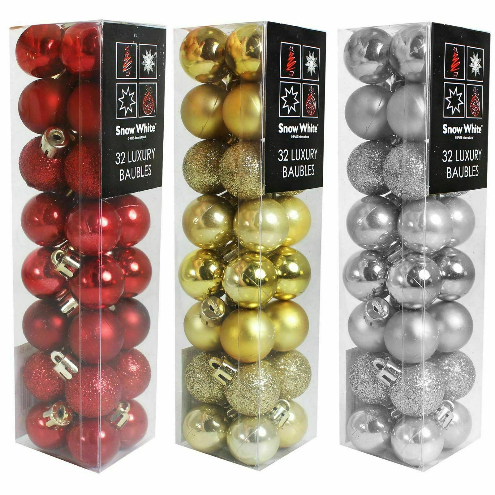 96 Christmas Tree Baubles Shatter Proof Glitter Xmas Decorations RED GOLD SILVER