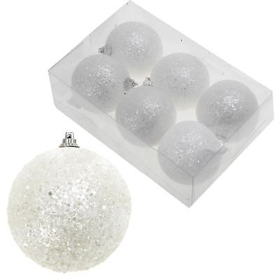 Christmas Tree - White Snowball Baubles Hanging Decoration - Choose Size