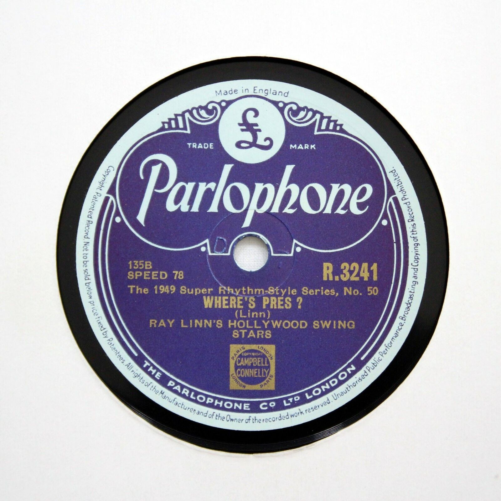 "RAY LINN'S HOLLYWOOD SWING STARS ""Where's Pres?"" (E+) PARLOPHONE R-3241 [78 RPM]"