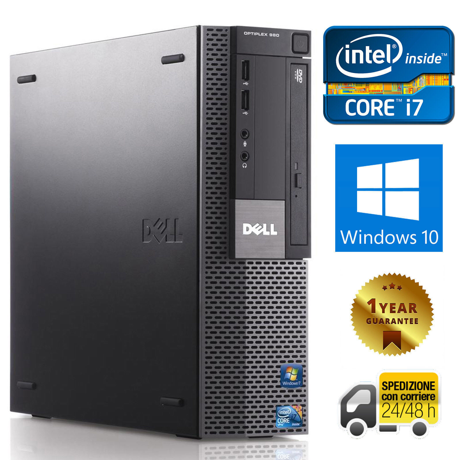 PC COMPUTER DESKTOP RICONDIZIONATO DELL 980 QUAD CORE i7 8GB 250GB WINDOWS 10