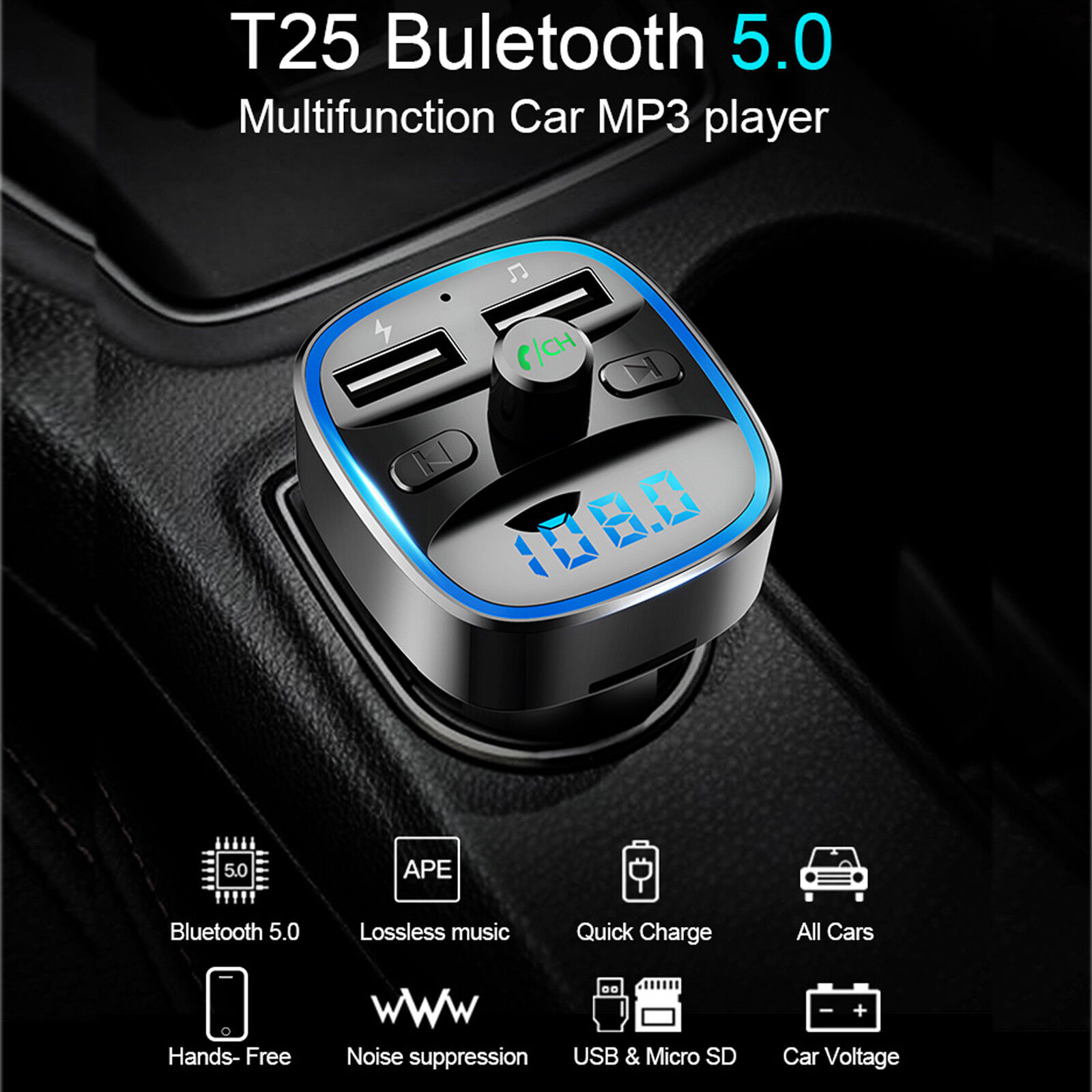 Trasmettitore FM BLUETOOTH 5.0 WIRELESS T25 Auto Vivavoce Lettore MP3 USB CHARGE