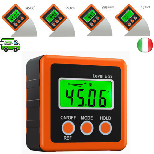 Inclinometro Digitale Goniometro 0-360° Livello Box Finder Angolo+Base Magnetica